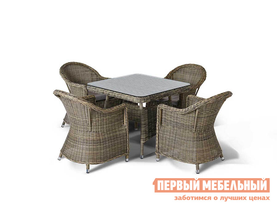 Комплект плетеной мебели 4sis Венето малая (Равенна 858117, 4 шт. + Венето 641875) Соломенный