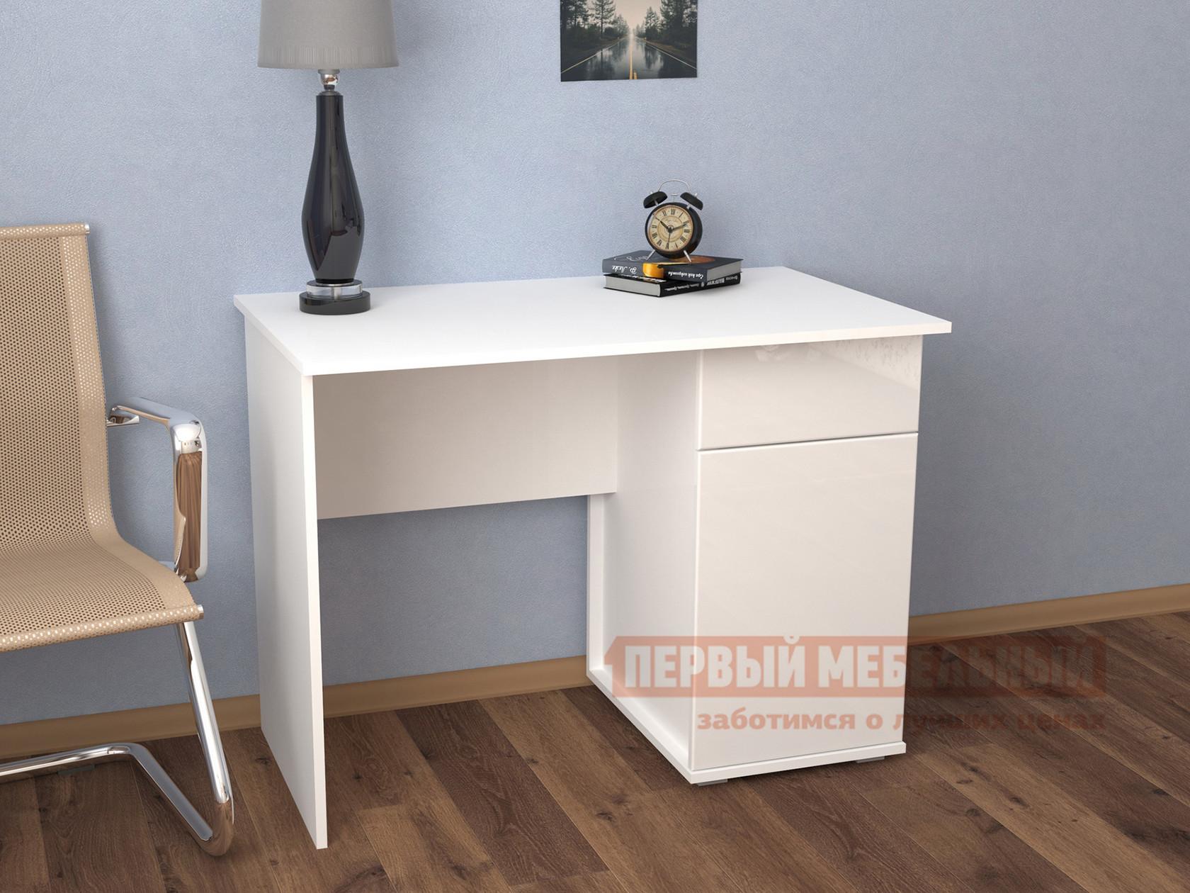 Письменный стол  Мебелеф-9 Белый / Белоснежный глянец 8888, Правый