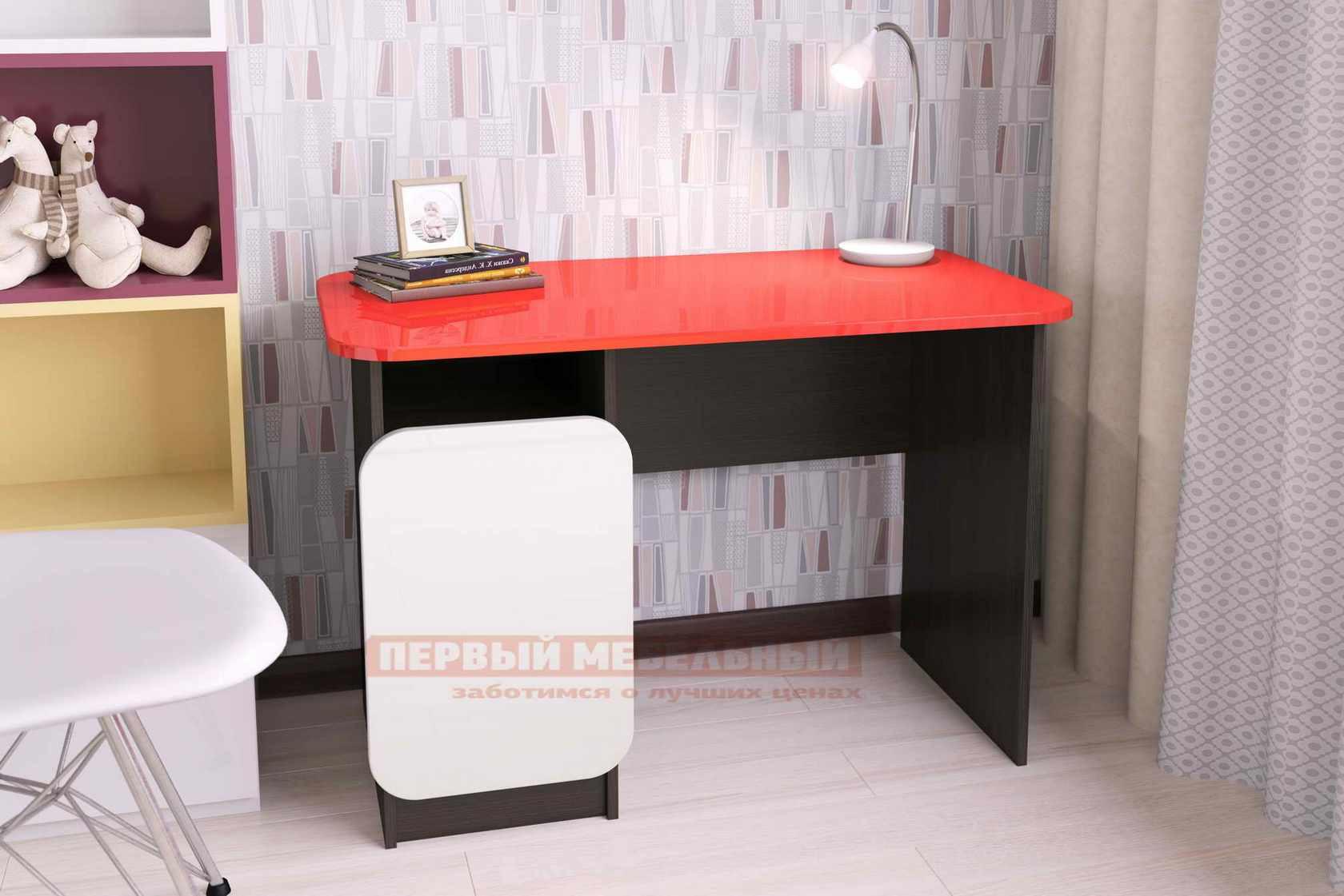 Письменный стол Мебелеф Письменный стол «Мебелеф-6» Венге, Белоснежный глянец 8888, Чёрный глянец 2905, Левый