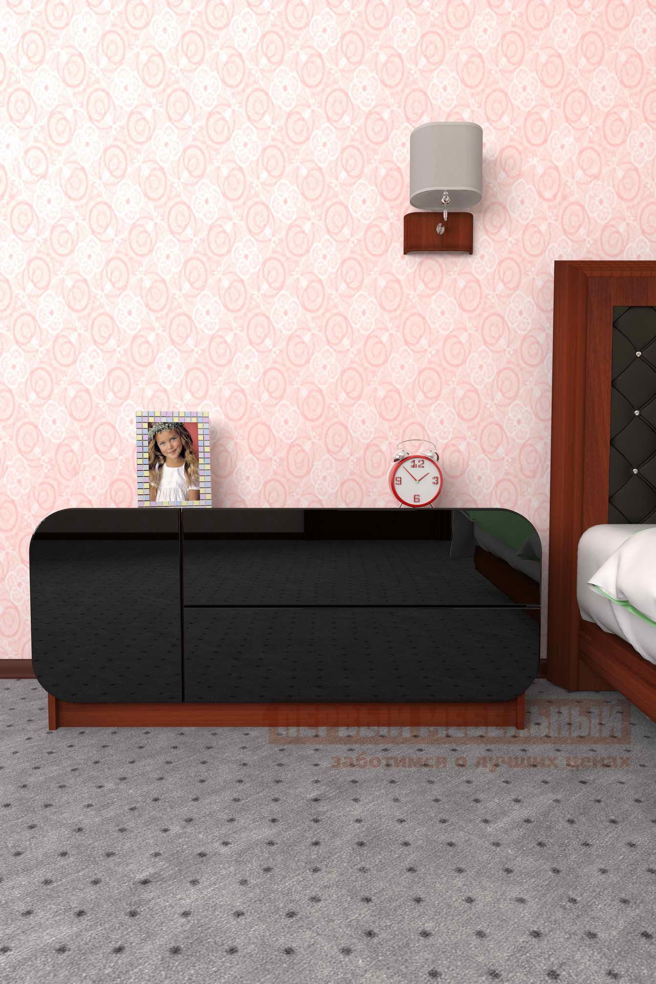 Комод Мебелеф Комод «Мебелеф-27» Итальянский орех, Чёрный глянец 2905, Левый от Купистол