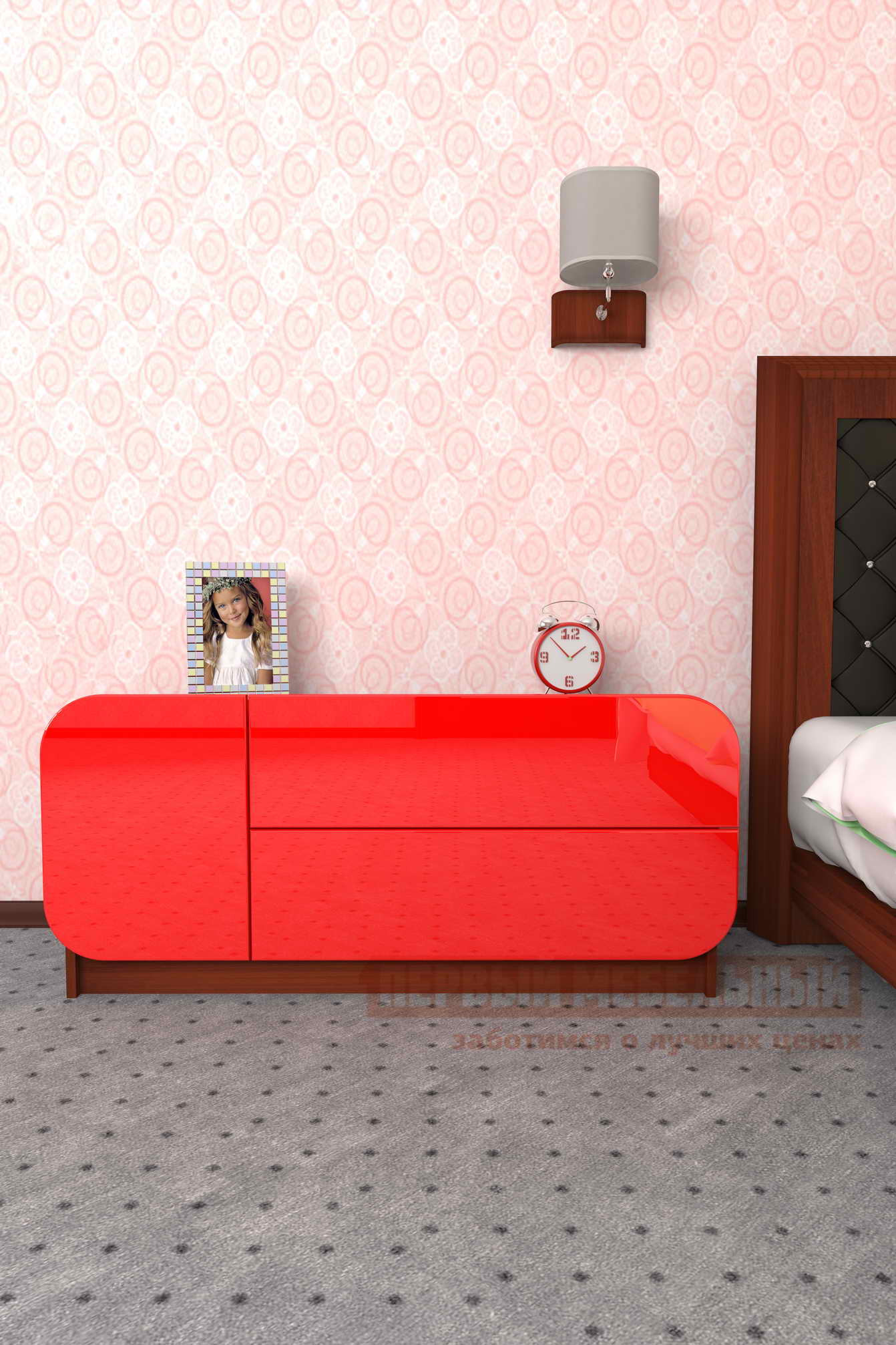 Комод Мебелеф Комод «Мебелеф-27» Итальянский орех, Красный глянец 2951, Левый от Купистол