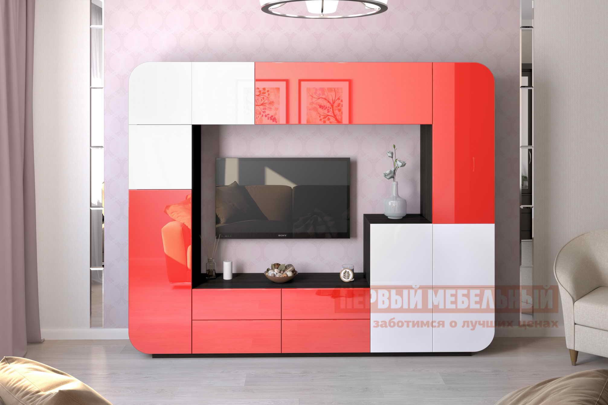 Гостиная Мебелеф Стенка для гостиной «Мебелеф-5» Венге, Красный глянец 2951 / Белоснежный глянец 8888