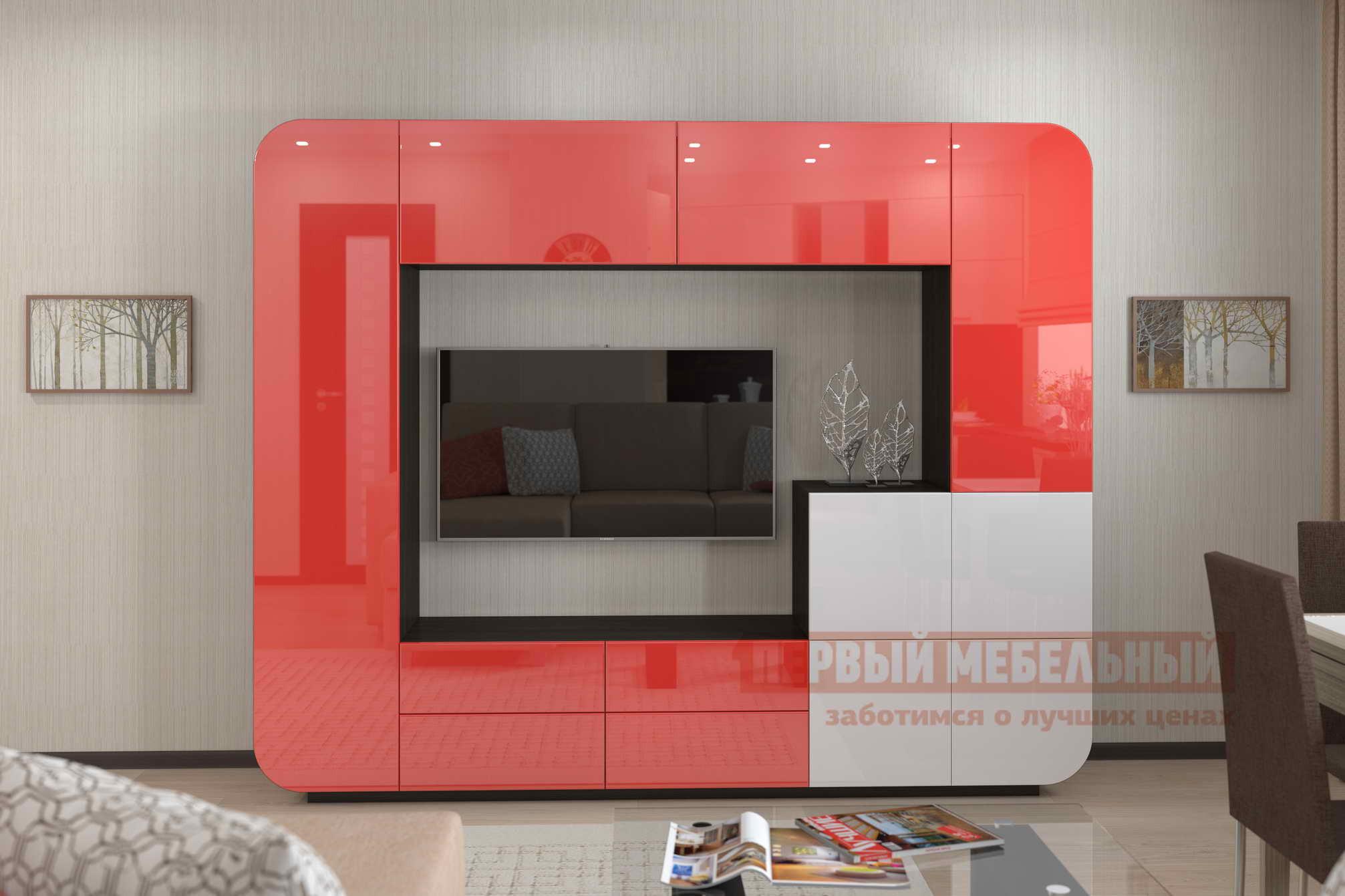 Гостиная  Стенка для гостиной «Мебелеф-3» Венге, Красный глянец 2951 / Белоснежный глянец 8888