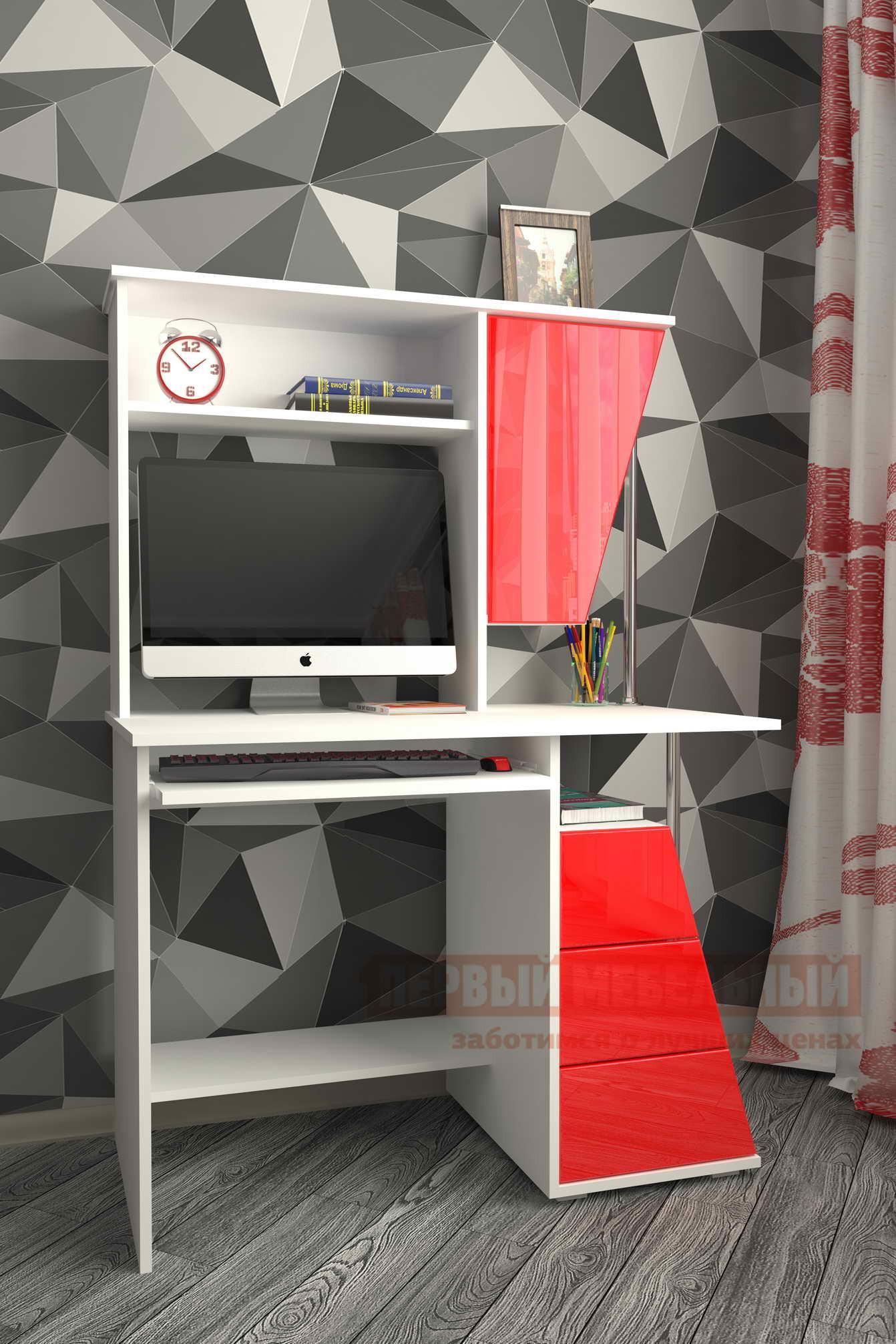 Стол для компьютера Мебелеф Мебелеф-53 Белый / Красный глянец 2951, Левый от Купистол
