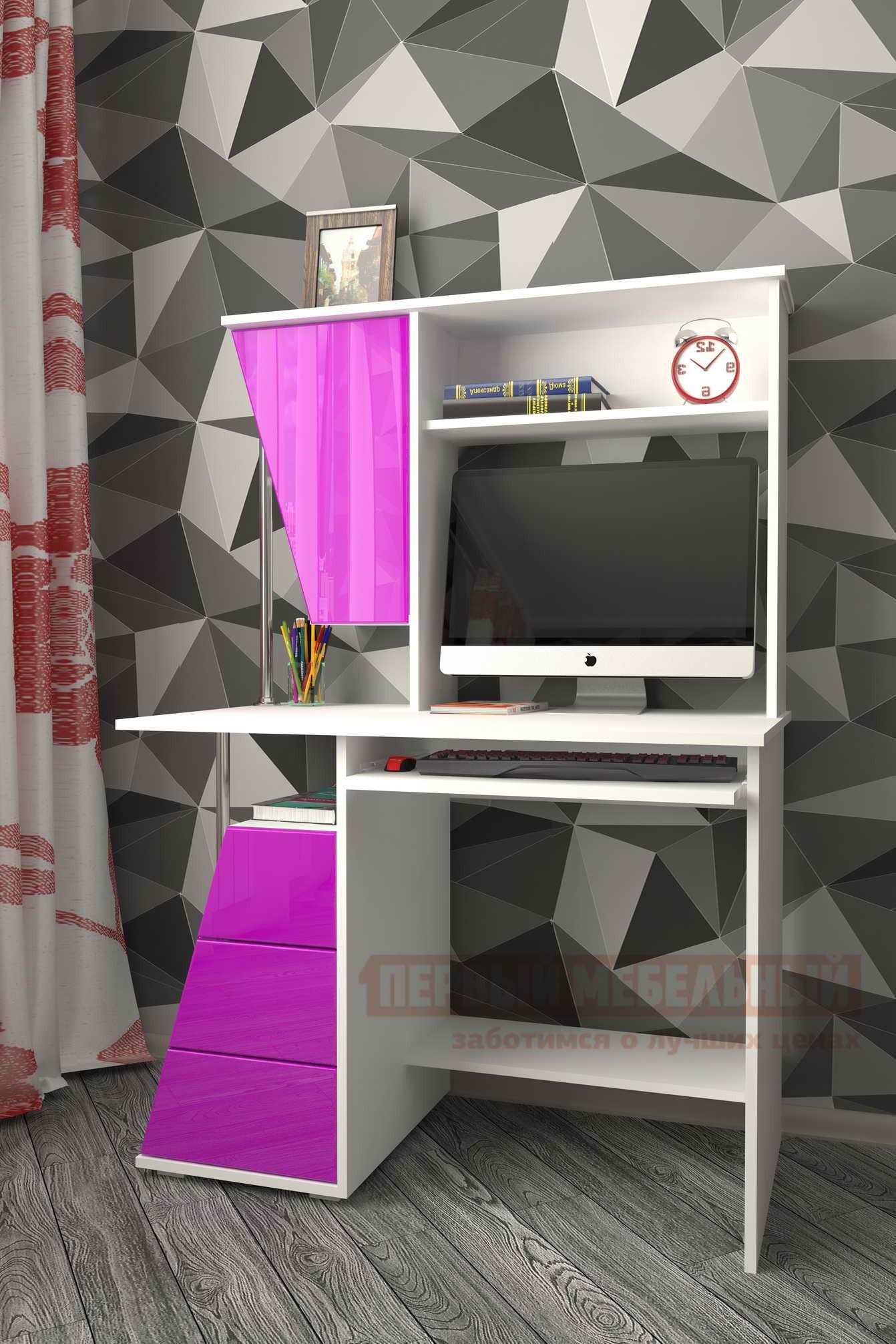 Компьютерный стол  Мебелеф-53 Белый / Фиолетовый глянец 3099, Правый