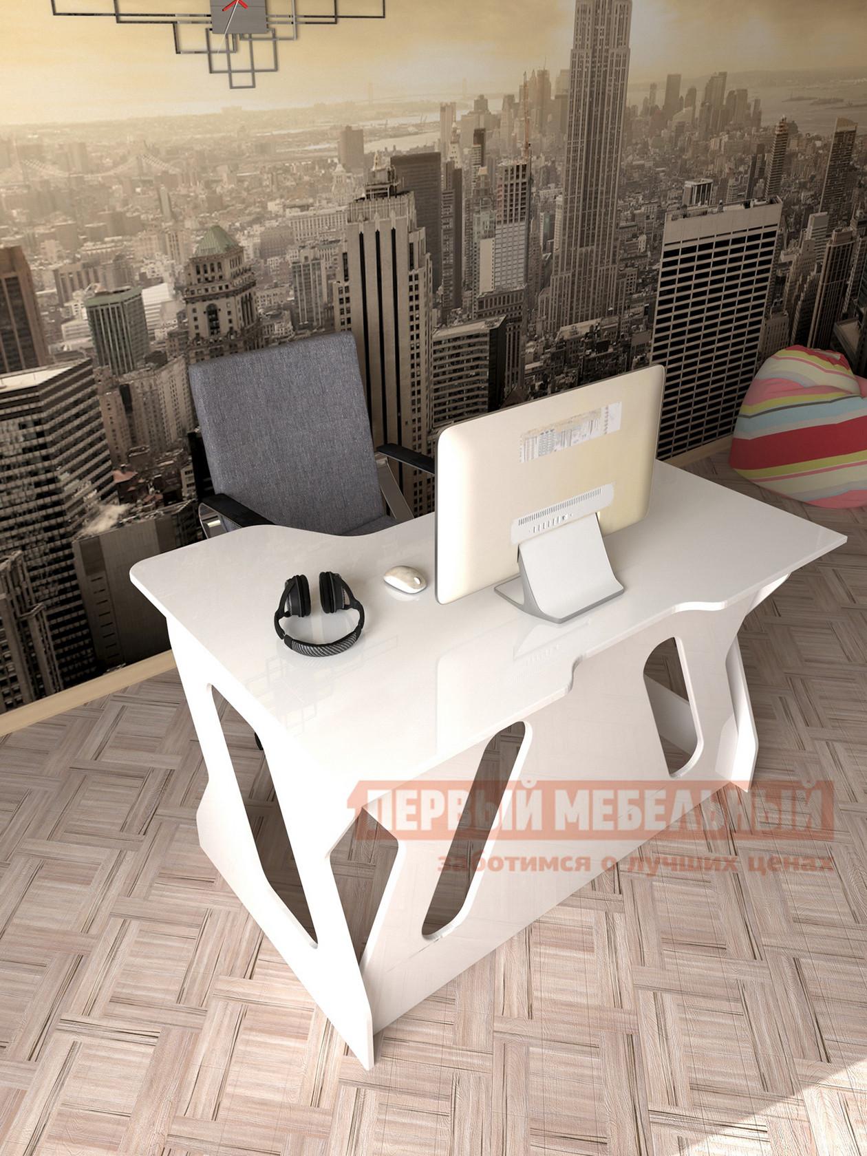 Компьютерный стол  Мебелеф-5 Белоснежный глянец 8888