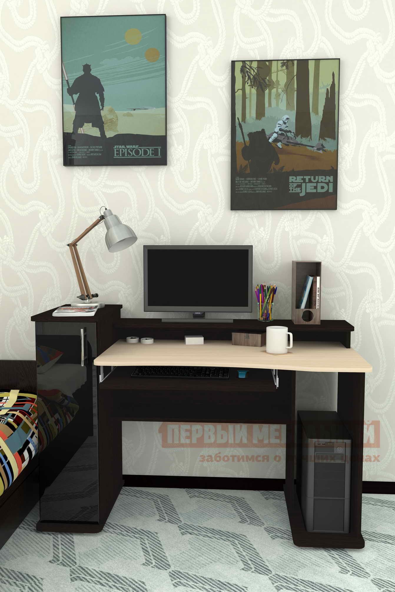 Компьютерный стол Мебелеф Компьютерный стол «Мебелеф-36» Чёрный глянец 2905, Венге, Дуб молочный, Правый