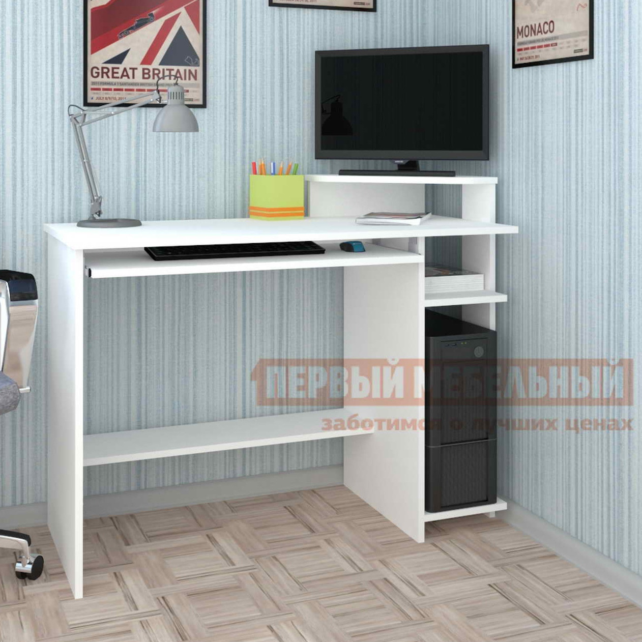 Стол для компьютера Мебелеф Мебелеф-8 Белый, Левый от Купистол