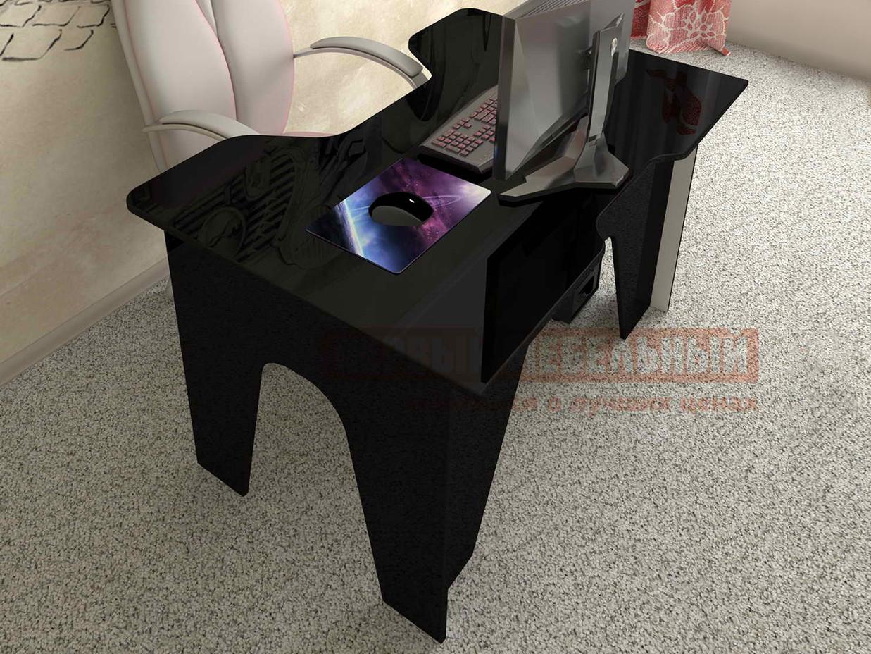 Компьютерный стол  Мебелеф-1 Чёрный глянец 2905