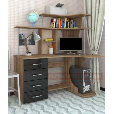 Компьютерный стол Мебелеф Мебелеф-3 Правый, Туя темная / Черный глянец 2905