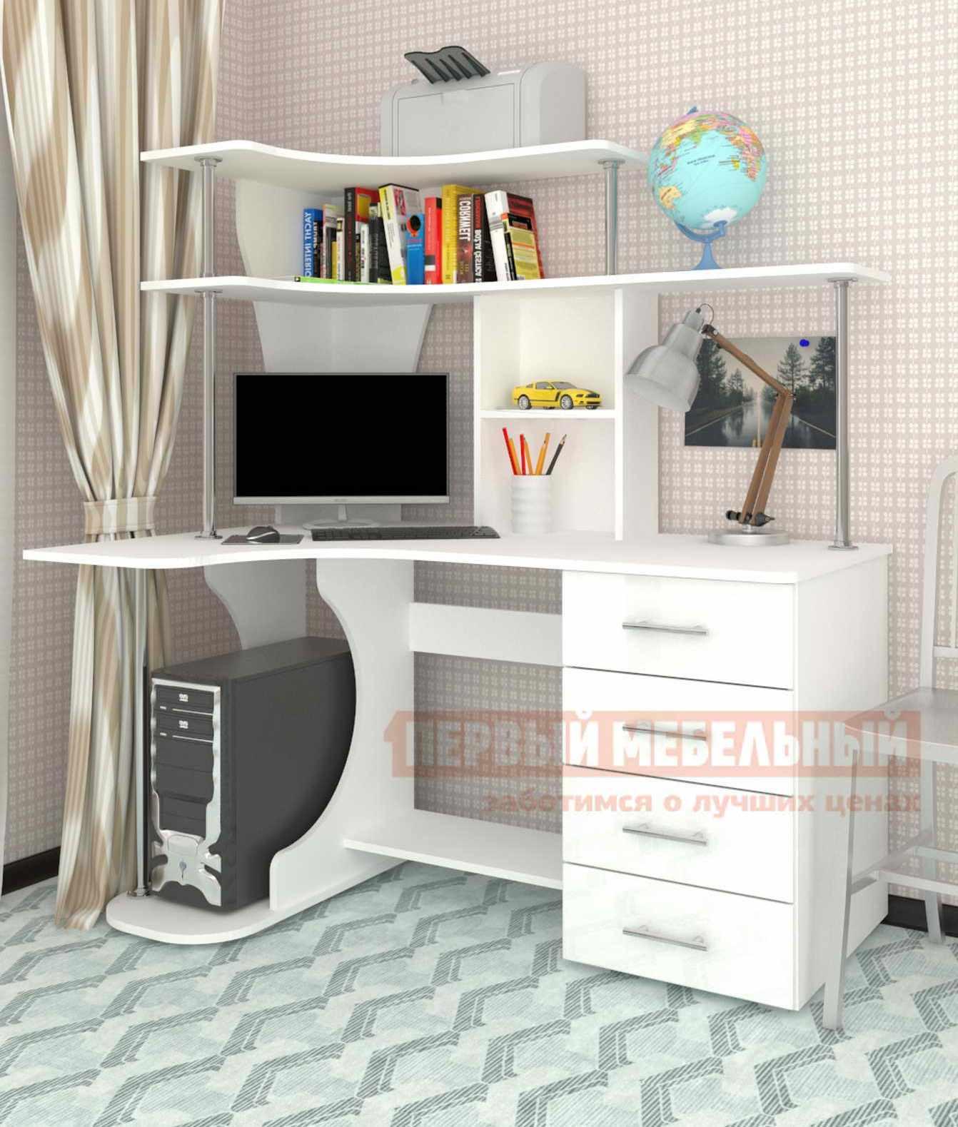 Купить со скидкой Компьютерный стол Мебелеф Мебелеф-3 Белый, Левый