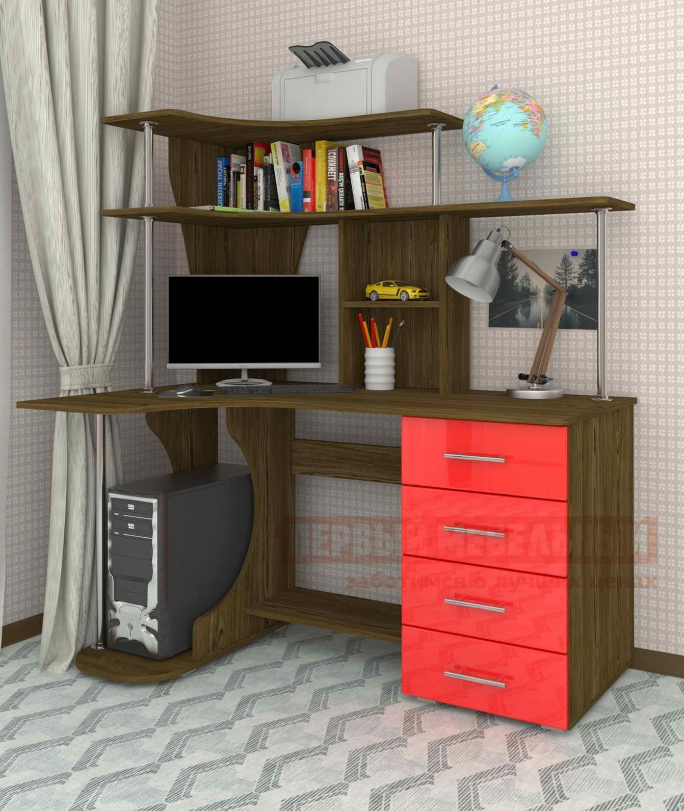 Компьютерный стол Мебелеф Мебелеф-3 Туя темная / Красный глянец 2951 , Правый