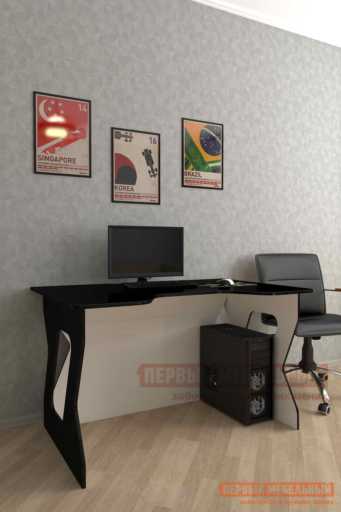 Компьютерный стол Мебелеф Мебелеф-3 Чёрный глянец 2905