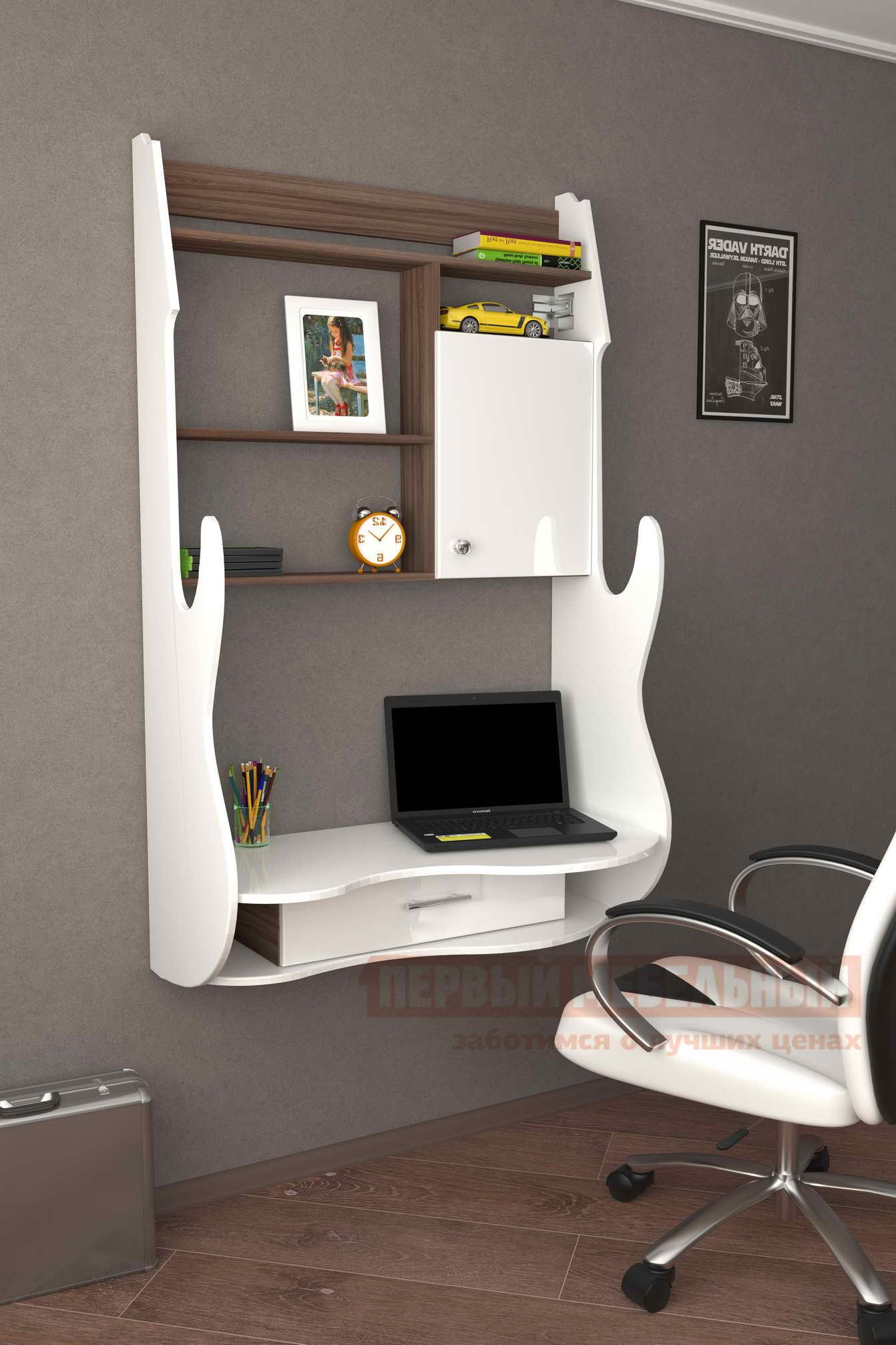 Компьютерный стол Мебелеф Компьютерный стол «Мебелеф-1» Белоснежный глянец 8888, Ясень Шимо тёмный, Левый