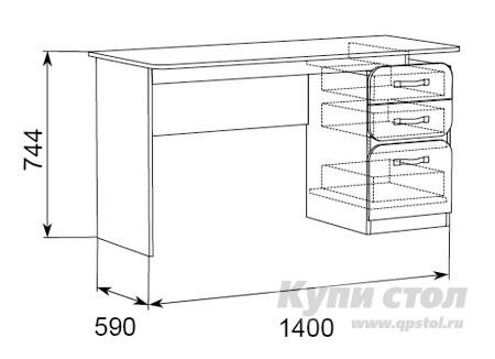 Письменный стол Модуль 5 Стол письменный с тумбой КупиСтол.Ru 5480.000