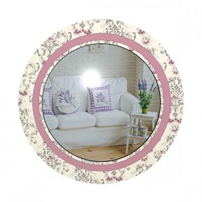Настенное зеркало ZerkaloStudio Винтажные цветы 60 Х 60 см, Бежево-розовый