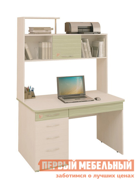Компьютерный стол Витра Акварель-53.14 + Надстройка 53.18 Дуб Кобург / Едера глянец