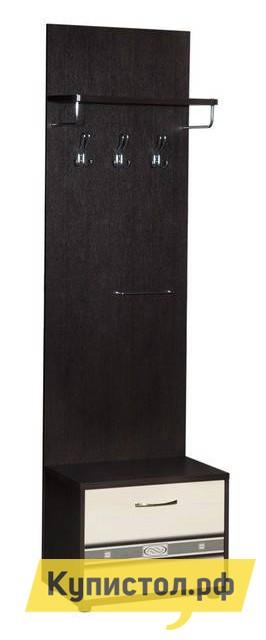 Прихожая Витра Триумф-36.03 Венге / Бел дуб Витра Габаритные размеры ВхШхГ 2140x600x380 мм. Небольшая функциональная вешалка для одежды с обувницей в основании.  Благодаря своим размерам модуль поместится даже в небольшой прихожей, позволив разместить одежду и обувь. Вешалка оснащена трехрожковыми крючками, штангой для ремней или шарфов и полочкой для головных уборов.  В обувнице установлена полочка в центре. Весь модуль устанавливается на опоры, которые регулируются по высоте.  Для устойчивости модель необходимо крепить к стене.  Изделие производится из ЛДСП толщиной 16 и 22 мм, все края обработаны кантом ПВХ — 0,4 и 2 мм.  Фасад обувницы выполняется из МДФ — 16 мм. Обратите внимание! Для получения гарантийного обслуживания мебели фабрики «Витра» необходимо обязательно сохранять гарантийный талон и сборочный чертеж до окончания гарантийного срока на приобретенную мебель (срок указан в гарантийном талоне).