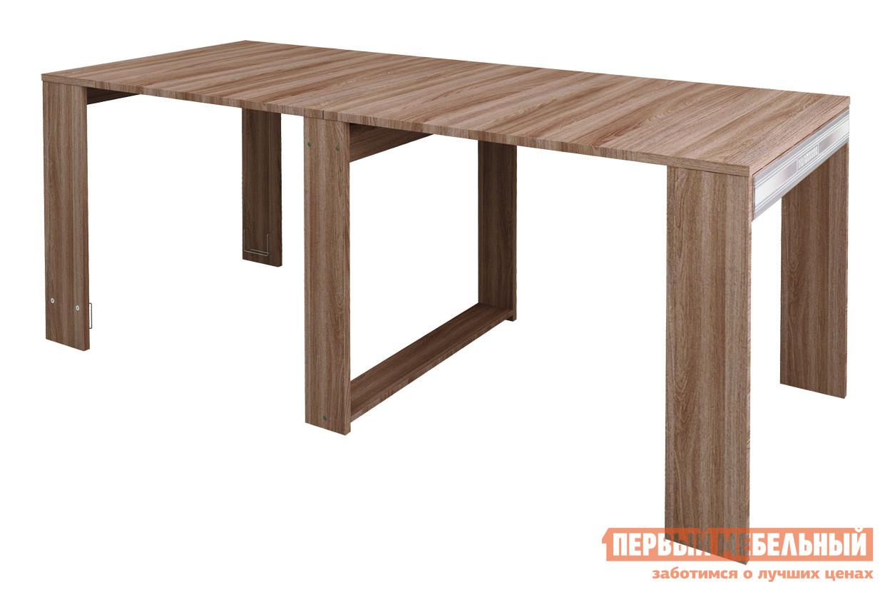 Стол-книжка Витра Орфей-18.10 Ясень Шимо темныйСтолы-книжки<br>Габаритные размеры ВхШхГ 750x450 / 2050x860 мм. Уникальный многофункциональный обеденный стол.  В сложенном виде ширина стола составляет всего 450 мм.  Вы можете использовать его в качестве туалетного столика или работать за ним с ноутбуком. В разложенном виде ширина стола увеличивается в 4,5 раза и составляет 2050 мм.  Также возможна фиксация в промежуточном положении (ширина 1250 мм). Вставки, с помощью которых стол раскладывается, хранятся внутри стола с помощью металлических держателей.  Это позволит вам экономить место в квартире.  Центральные стоевые оборудованы колесами, что делает разложение стола более удобным. Декоративные вставки из стекла с рисунком придают столу изысканный вид. За разложенным столом могут комфортно разместиться 10 человек. Стол выполнен из ЛДСП 22 мм и 16 мм с использованием канта ПВХ 0,4 и 2 мм. Обратите внимание! Для получения гарантийного обслуживания мебели фабрики «Витра» необходимо обязательно сохранять гарантийный талон и сборочный чертеж до окончания гарантийного срока на приобретенную мебель (срок указан в гарантийном талоне).<br><br>Цвет: Ясень Шимо темный<br>Цвет: Коричневое дерево<br>Высота мм: 750<br>Ширина мм: 450 / 2050<br>Глубина мм: 860<br>Кол-во упаковок: 3<br>Форма поставки: В разобранном виде<br>Срок гарантии: 5 лет<br>Тип: Раскладные, Трансформер<br>Материал: Деревянные, из ЛДСП<br>Форма: Прямоугольные<br>Размер: Большие