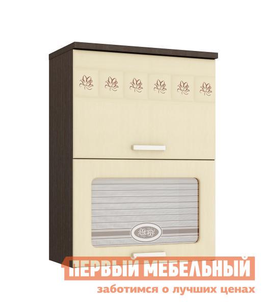 Купить со скидкой Шкаф-витрина Витра 10.08 ЛДСП венге / МДФ беленый дуб