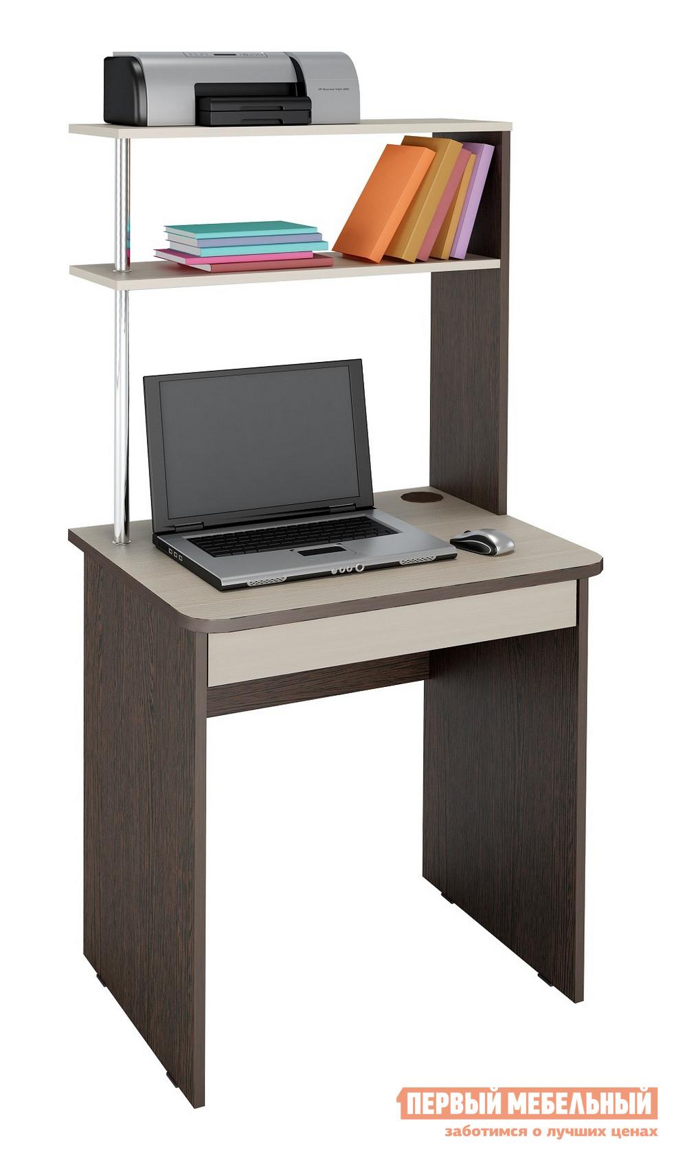 Компьютерный стол Витра Фортуна-37 Венге / Дуб КобургКомпьютерные столы<br>Габаритные размеры ВхШхГ 1500x680x530 мм. Современный компактный компьютерный стол поможет создать рабочий уголок. Надстройка позволяет разместить небольшой принтер, книги и тетради.  Размер верхней полки: 676 Х 230 мм, нижней: 658 Х 222 мм. Под столом есть выдвижная ниша с внутренним размером 547 х 400 мм.  В ней без труда разместят документы формата А4 и канцелярские мелочи. Легкость конструкции придает металлическая стоевая с глянцевым покрытием.  Ножки регулируются по высоте. Изделие изготавливается ил ЛДСП 22 мм и 16 мм.  Края обработаны кантом ПВХ 2 мм и 0,4 мм. Обратите внимание! Для получения гарантийного обслуживания мебели фабрики «Витра» необходимо обязательно сохранять гарантийный талон и сборочный чертеж до окончания гарантийного срока на приобретенную мебель (срок указан в гарантийном талоне).<br><br>Цвет: Венге / Дуб Кобург<br>Цвет: Темное-cветлое дерево<br>Высота мм: 1500<br>Ширина мм: 680<br>Глубина мм: 530<br>Кол-во упаковок: 1<br>Форма поставки: В разобранном виде<br>Срок гарантии: 5 лет<br>Тип: Прямые<br>Материал: Деревянные, из ЛДСП<br>Размер: Маленькие<br>Особенности: С надстройкой, С полками