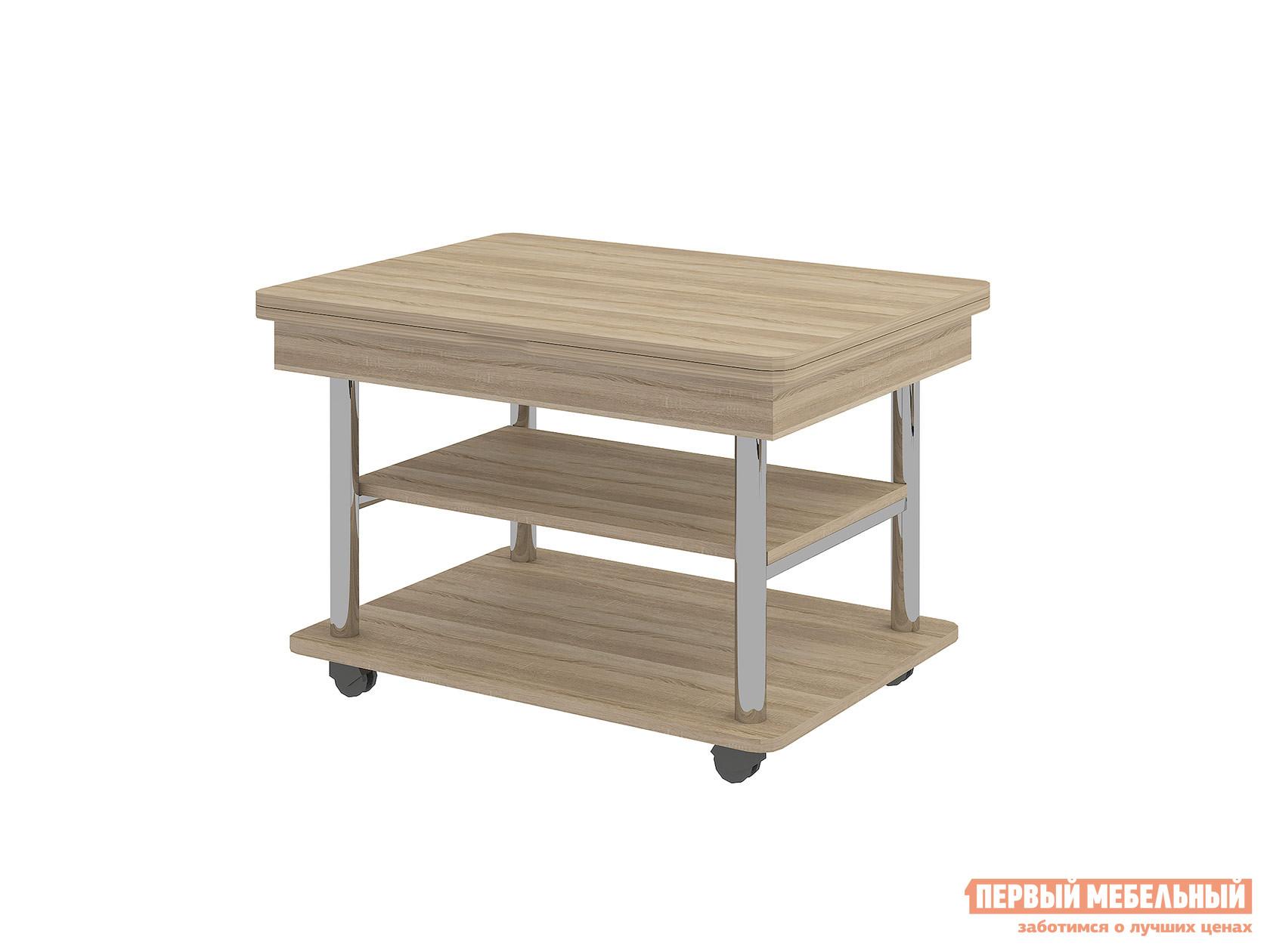 Журнальный столик Витра Агат-22.2 Дуб СономаЖурнальные столики<br>Габаритные размеры ВхШхГ 550 / 750x800 / 1200x600 / 800 мм. Необычный и очень функциональный журнальный столик станет красивым и полезным мебельным изделием в доме.  Модель трансформируется в полноценный обеденный стол.  Благодаря поршневому механизму высота ножек увеличивается, а поворотный механизм столешницы делает ее размер вдвое больше.  Для мобильности столик оснащен колесиками.  Он станет удобным решением для небольших помещений. Стол имеет несколько модификаций:В собранном виде (ВхШхГ): 550 х 800 х 600 мм; В разложенном виде (ВхШхГ): 550 х 1200 х 800 мм;В разложенным и поднятом виде (ВхШхГ): 750 х 1200 х 800 мм;В собранном и поднятом виде (ВхШхГ): 750 х 800 х 600 мм. Изделие изготовлено из ЛДСП толщиной 16 и 22 мм, края отделаны кантом ПВХ толщиной 0,4 и 2 мм.  Диаметр металлических опор: внешний — 38 мм, внутренний — 25 мм, опоры имеют глянцевое покрытие. Обратите внимание! Для получения гарантийного обслуживания мебели фабрики «Витра» необходимо обязательно сохранять гарантийный талон и сборочный чертеж до окончания гарантийного срока на приобретенную мебель (срок указан в гарантийном талоне).<br><br>Цвет: Дуб Сонома<br>Цвет: Светлое дерево<br>Высота мм: 550 / 750<br>Ширина мм: 800 / 1200<br>Глубина мм: 600 / 800<br>Кол-во упаковок: 2<br>Форма поставки: В разобранном виде<br>Срок гарантии: 5 лет<br>Тип: Трансформер, Чайные<br>Назначение: Для гостиной<br>Материал: из ЛДСП<br>Форма: Прямоугольные<br>Размер: Маленькие<br>Высота: Высокие<br>Особенности: С полкой, На колесиках, С металлическими ножками<br>Стиль: Классический
