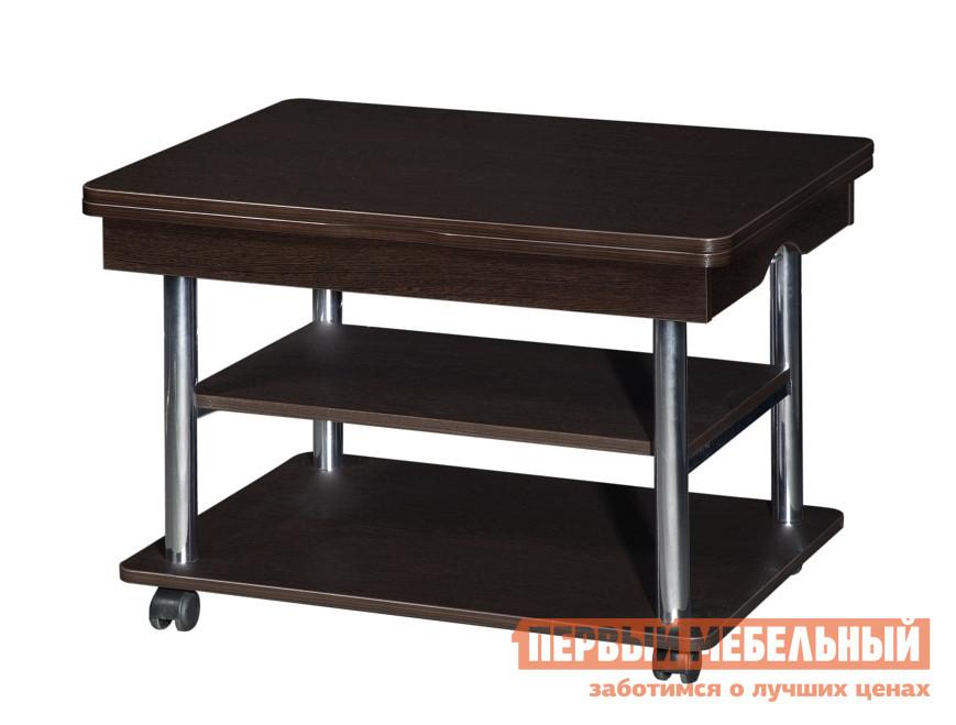 Журнальный столик Витра Агат-22.2 ВенгеЖурнальные столики<br>Габаритные размеры ВхШхГ 550 / 750x600 / 1200x800 мм. Уникальный журнальный столик, который трансформируется в полноценный обеденный стол.  Благодаря поршневому механизму высота ножек увеличивается, а поворотный механизм разложения столешницы увеличивает ее размер вдвое. Такой стол является великолепным решением для малогабаритных помещений.  Изделие изготовлено из ЛДСП толщиной 16 мм, края отделаны ПВХ кантом 0,4 и 2 мм.  Диаметр металлических опор - внешний - 38 мм, внутренний - 25 мм.  опоры имеют глянцевое покрытие. Обратите внимание! Для получения гарантийного обслуживания мебели фабрики «Витра» необходимо обязательно сохранять гарантийный талон и сборочный чертеж до окончания гарантийного срока на приобретенную мебель (срок указан в гарантийном талоне).<br><br>Цвет: Венге<br>Цвет: Венге<br>Высота мм: 550 / 750<br>Ширина мм: 600 / 1200<br>Глубина мм: 800<br>Кол-во упаковок: 2<br>Форма поставки: В разобранном виде<br>Срок гарантии: 5 лет<br>Тип: Трансформер, Чайные<br>Назначение: Для гостиной<br>Материал: из ЛДСП<br>Форма: Прямоугольные<br>Размер: Маленькие, Большие<br>Высота: Высокие<br>Особенности: С полкой, На колесиках<br>Стиль: Классический