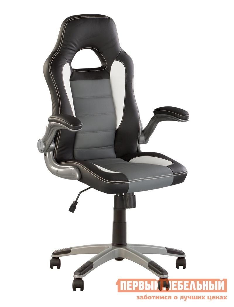 Компьютерное кресло NOWYSTYL RACER ECO-30 / ECO-70 / ECO-50 NOWYSTYL Габаритные размеры ВхШхГ 1160 / 1260x510x490 мм. Современное и комфортное кресло в стильном дизайне.  Модель оснащена механизмом качания.  Механизм обеспечивает свободное качание с возможностью фиксации сидения и спинки в одном положении.  Подлокотники имеют мягкие накладки, а также откидываются назад.  Колесики пластиковые с резиновым покрытием. <br>Высота в нижнем положении — 1160 мм;<br>Высота в верхнем положении — 1260 мм;<br>Высота сидения в поднятом положении — 525 мм;<br>Высота сидения в опущенном положен — 425 мм;<br>Высота спинки 735 мм, ширина — 500 мм;<br>Диаметр крестовины — 700 мм. <br><br>Обивка выполнена из качественной эко-кожи.  Она скроена из трех разных цветовых вариантов, гармонично сочетающихся между собой.  Обивка украшена декоративной строчкой белого цвета. <br>