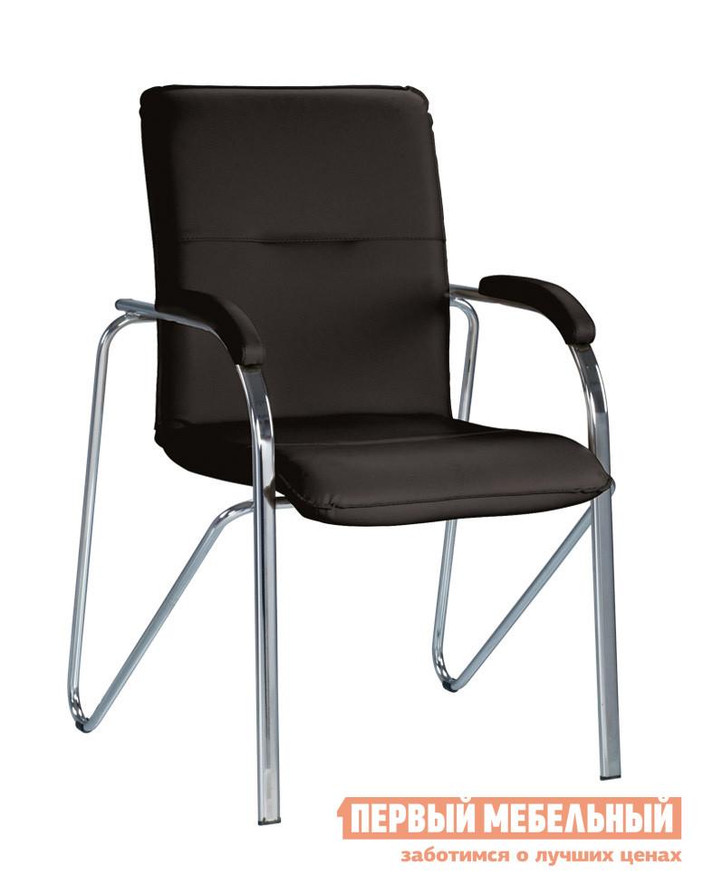 Офисный стул NOWYSTYL SAMBA soft (S) Черная V-14 иск.кожа (гладкая)Офисные стулья<br>Габаритные размеры ВхШхГ 900x460x430 мм. Стильная и современная модель кресла для посетителей.  Отличный вариант для меблировки приемной, конференц-зала или офиса.  Мягкие спинка и сиденье обеспечат комфорт.  На подлокотниках есть небольшие накладки для комфортного положения рук. Особенность модели — оригинально согнутый каркас, который позволяет штабилировать четыре таких стула друга на друга, освобождая пространство. Кресло поставляется в собранном виде. Каркас и ножки выполняются из хромированного металла, обивка — искусственная кожа. Обратите внимание! Стулья поставляются комплектом по 2 штуки.  Цена указана за один стул.<br><br>Цвет: Черная V-14 иск.кожа (гладкая)<br>Цвет: Черный<br>Высота мм: 900<br>Ширина мм: 460<br>Глубина мм: 430<br>Кол-во упаковок: 1<br>Форма поставки: В собранном виде<br>Срок гарантии: 1 год<br>Тип: До 80 кг, До 100 кг<br>Материал: из искусственной кожи<br>Особенности: С подлокотниками
