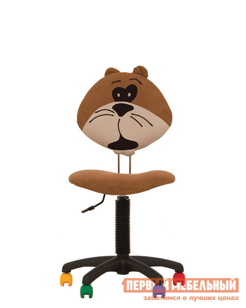 Компьютерное кресло NOWYSTYL BOB GTS PL55 MICROSOLCO КоричневыйКомпьютерные кресла детские<br>Габаритные размеры ВхШхГ 750 / 980x450x330 мм. Детское компьютерное кресло со спинкой в виде мордочки смешного бобра.  На таком кресле точно будет нескучно готовить домашнее задание и играть. Мягкое сиденье регулируется по высоте и глубине при помощи винтовой рукоятки.  Высота стула (со спинкой) при этом изменяется от 750 до 980 мм.  Высоте сиденья: минимальная  — 75 см, максимальная — 98 см. Крестовина выполнена из пластика и дополнена разноцветными колесиками.  Обивка спинки и сиденья — практичный полиэстер. Максимальная нагрузка на кресло составляет 100 кг.<br><br>Цвет: Коричневый<br>Высота мм: 750 / 980<br>Ширина мм: 450<br>Глубина мм: 330<br>Кол-во упаковок: 1<br>Форма поставки: В разобранном виде<br>Срок гарантии: 1 год<br>Тип: До 80 кг<br>Тип: До 100 кг<br>Тип: До 90 кг<br>Тип: Регулируемые по высоте<br>Назначение: Для дома<br>Назначение: Для школьников<br>Материал: Ткань<br>Размер: Маленькие<br>Эргономичные: Да<br>На колесиках: Да<br>Пластиковая крестовина: Да<br>Без подлокотников: Да<br>С низкой спинкой: Да<br>Пол: Для девочек<br>Пол: Для мальчиков