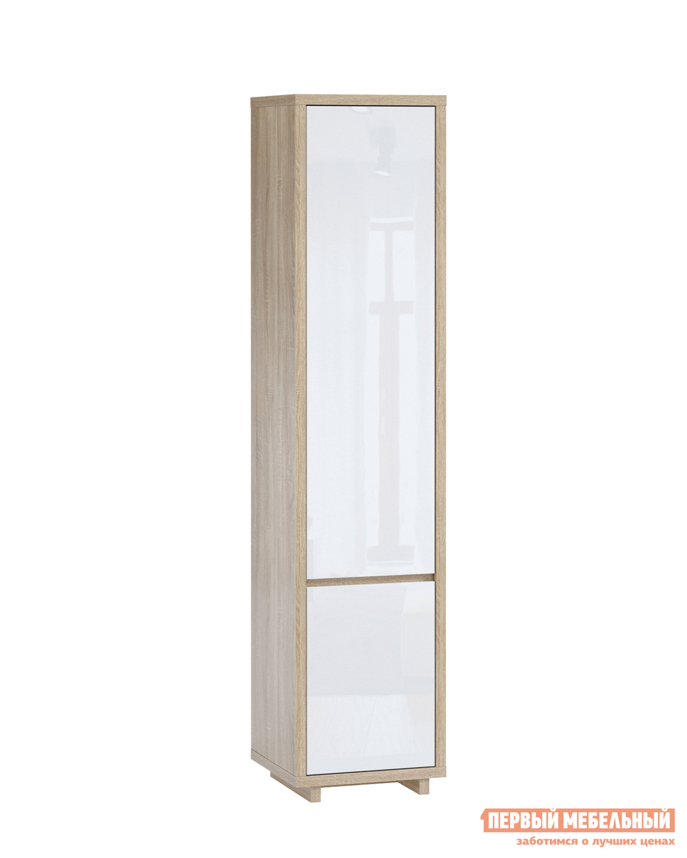 Шкаф распашной  Аспен Шкаф-пенал (2 двери) Дуб Сонома / Белый глянец