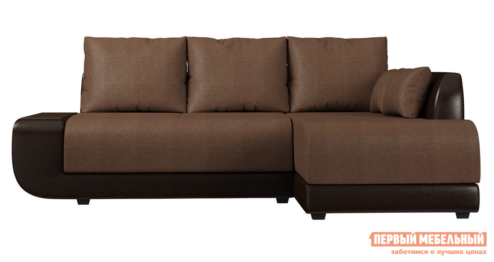 Диван Вудэкспорт Нью-йорк Коричневая рогожка / Темно-коричневый кожзам, Левый Вудэкспорт Габаритные размеры ВхШхГ 920x2470x1630 мм. Стильный угловой диван — прекрасный вариант для гостиной.  При необходимости модель легко трансформируется в двуспальную кровать.  Мягкие обивки в ассортименте помогут выбрать вариант по вкусу и украсить интерьер.  Модель имеет подлокотник в виде полочки, на которую можно ставить напитки или декоративные предметы. <br><br>Механизм трансформации: пума;<br>Спальное место: 2000 х 1450 мм;<br>Наполнение: высокоэластичный ППУ;<br>Бельевой ящик. <br><br>Пума — отличный современный механизм, очень надежный и простой в использовании.  Для раскладывания нужно потянуть сиденье вверх и вперед, оно поднимется и как бы шагнет вперед, мягко опустившись на нужное место.  Вторая часть спального места при этом сама поднимется из-под первой.  Этот механизм обеспечивает минимальные усилия при раскладывании дивана. <br> Обратите внимание! Диван может иметь правое или левое исполнение, определяется по расположению угловой секции.  Внимательно выбирайте при заказе необходимую вам комплектацию. <br>