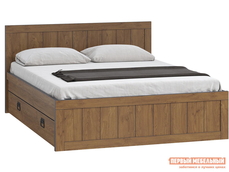 Двуспальная кровать  Эссен Кровать №3 с ящиками Дуб кендал коньяк, 1600 Х 2000 мм