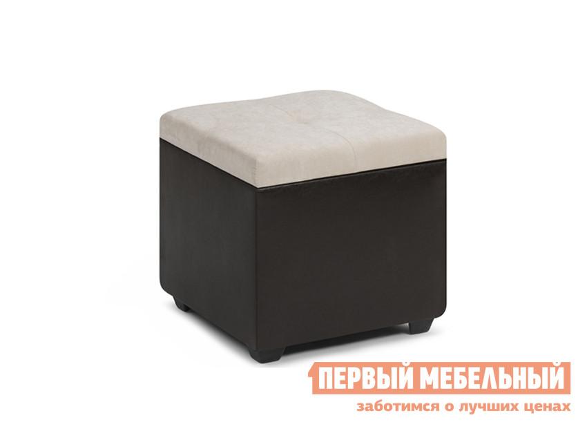 Пуфик WOODCRAFT Альфа Светлый велюр / Темно-коричневый кожзам