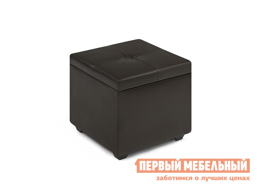 Пуфик WOODCRAFT Альфа Темно-коричневый кожзам