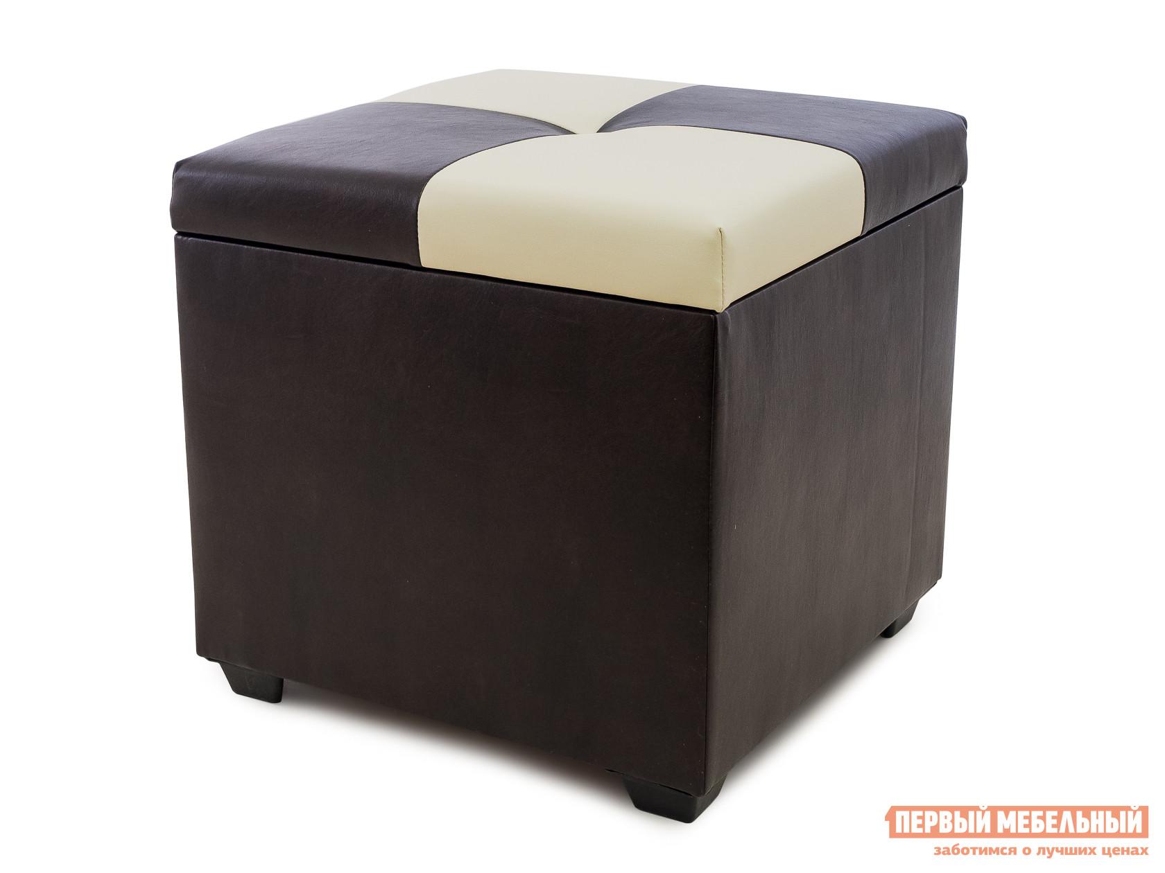 Пуфик WOODCRAFT Альфа Темно-коричневый кожзам / Молочный кожзам / Темно-коричневый кожзам