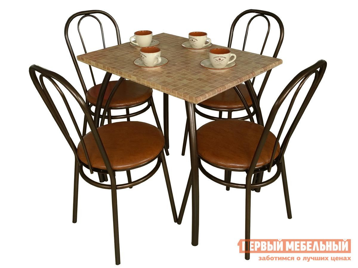 Обеденная группа для кухни Пеликан Элегант + 4 шт Верона Кафель / Рыжий яркий, Столешница 800 Х 600 мм