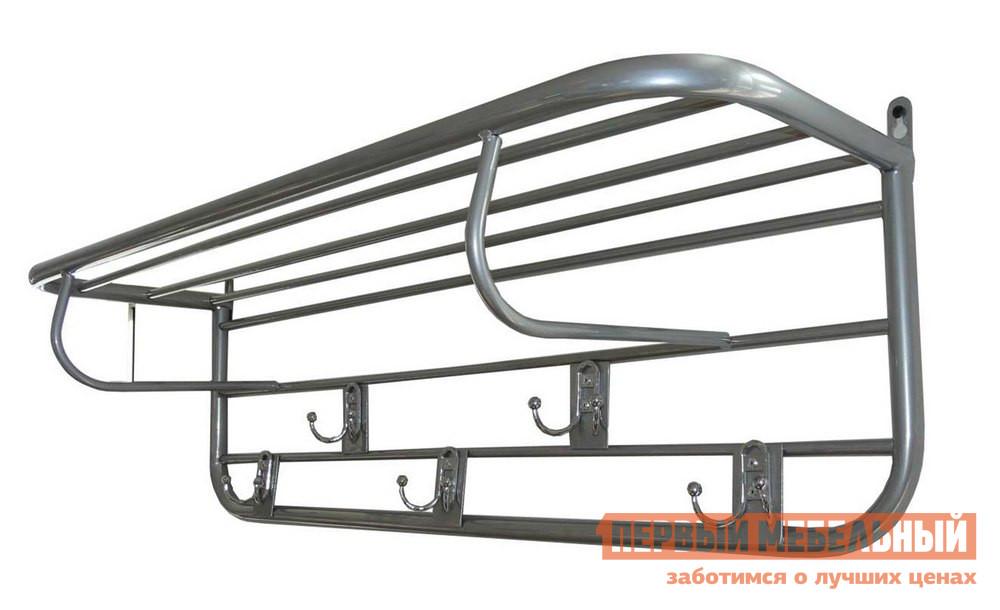 Настенная вешалка Пеликан Полка-вешалка Каркас металликНастенные вешалки<br>Габаритные размеры ВхШхГ 270x860x250 мм. Настенная вешалка отлично дополнит интерьер прихожей, поможет разместить верхнюю одежду и головные уборы.   Вешалка выполнена из тонкостенной металлической трубы, калиброванного прутка, металлических пластин и крючков.   Она имеет полку для шляп и пять крючков для одежды, каждый из которых раздвоен.<br><br>Цвет: Каркас металлик<br>Цвет: Серый<br>Высота мм: 270<br>Ширина мм: 860<br>Глубина мм: 250<br>Кол-во упаковок: 1<br>Форма поставки: В собранном виде<br>Срок гарантии: 18 месяцев<br>Материал: Металлические<br>Особенности: Дешевые
