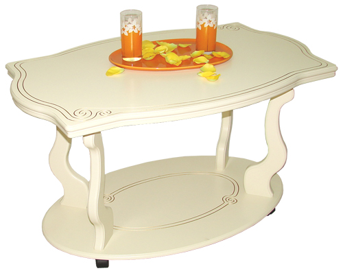 Журнальный столик Мебелик Берже-3 слоновая кость