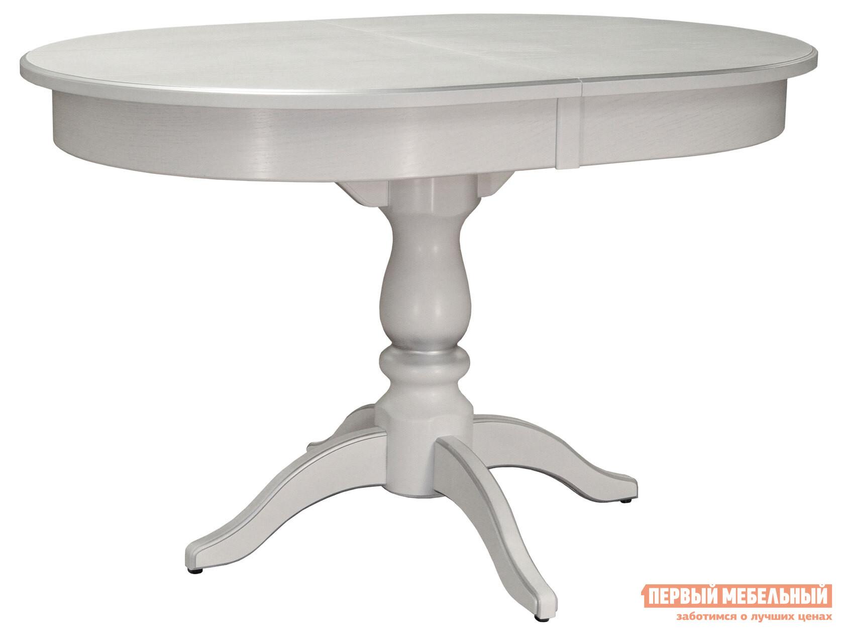 Кухонный стол  обеденный Тарун 4 120/160*84 Белый / Патина серебро Мебелик 105657