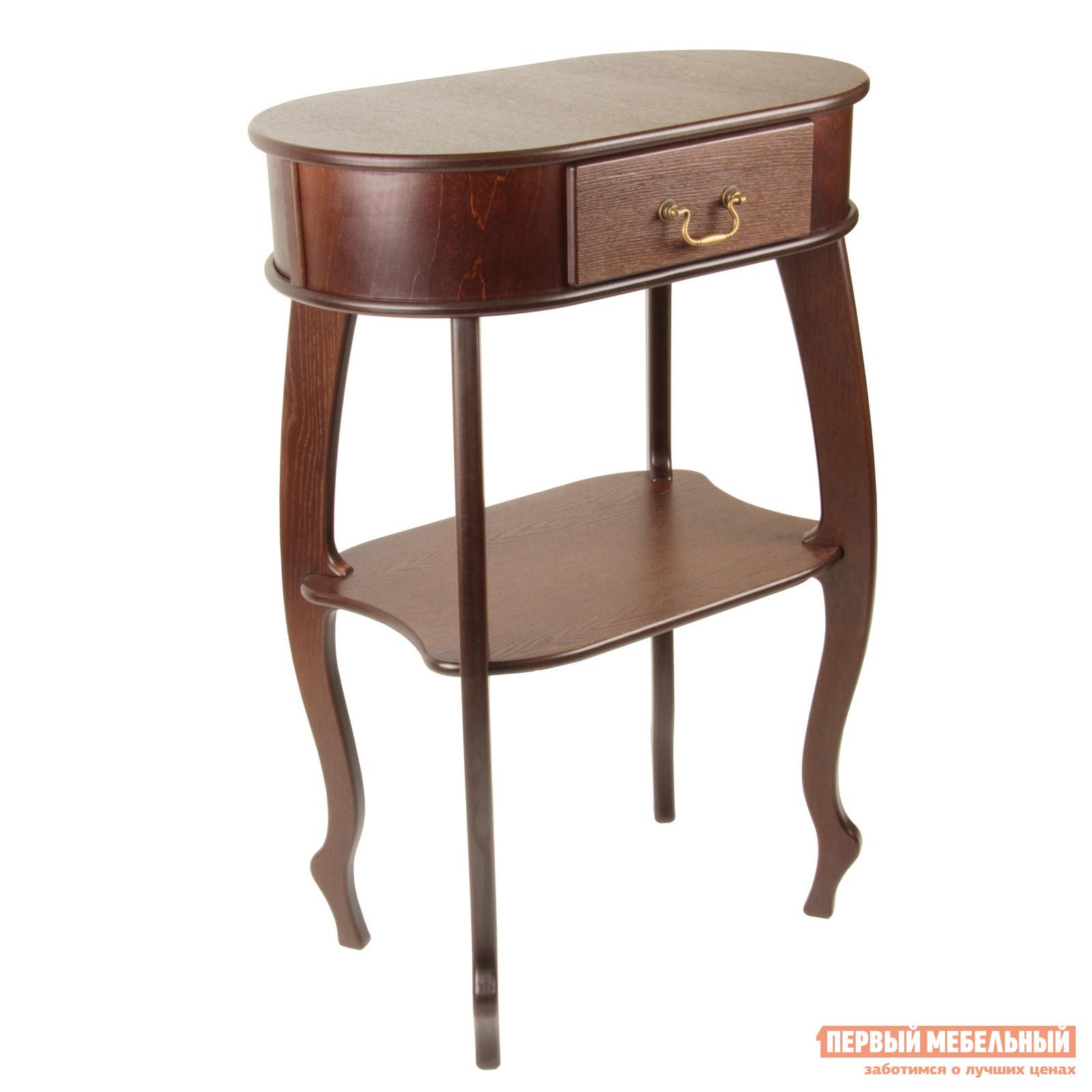 Консоль Мебелик Берже 18 Темно-коричневыйКонсоли<br>Габаритные размеры ВхШхГ 1010x710x410 мм. Элегантная консоль, исполненная в классическом стиле, прекрасно подойдет и для прихожей, и для будуара. Легкая изящная конструкция дополнена винтажной фурнитурой. Изделие можно использовать и как подставку для большой вазы, и как столик для телефона. Модель изготовлена из массива бука и МДФ со шпоном дуба. Поставляется в собранном виде.<br><br>Цвет: Темно-коричневый<br>Цвет: Коричневое дерево<br>Высота мм: 1010<br>Ширина мм: 710<br>Глубина мм: 410<br>Кол-во упаковок: 1<br>Форма поставки: В собранном виде<br>Срок гарантии: 24 месяца<br>Тип: Напольные, Консоль-тумба<br>Назначение: Для спальни, В прихожую<br>Материал: из МДФ, из массива дерева<br>Порода дерева: из бука, из дуба<br>Форма: Овальные<br>Размер: Маленькие<br>Особенности: С ящиками, На ножках, С полками<br>Стиль: Модерн, Прованс
