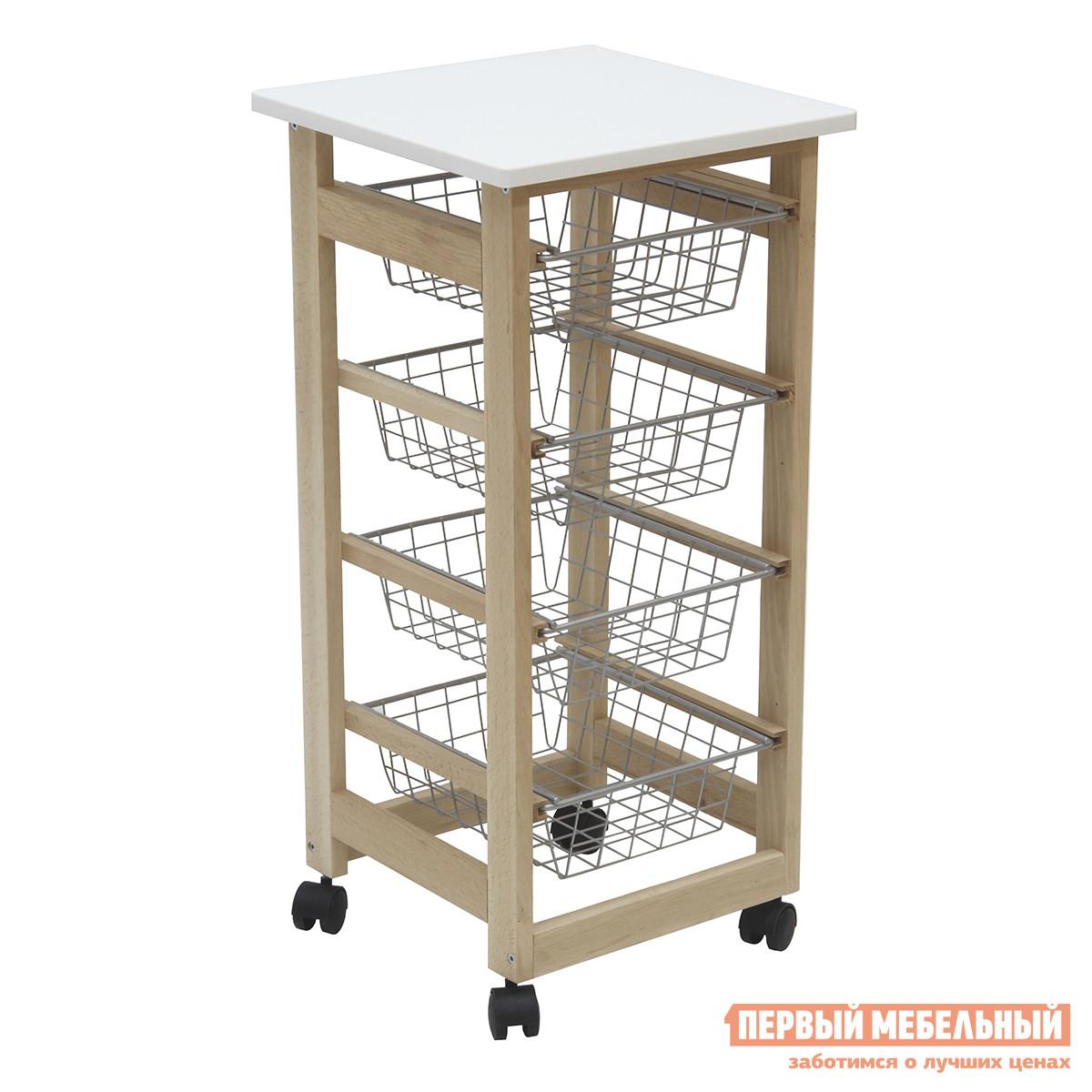 Сервировочный столик Мебелик В 43Н Бук / Белый