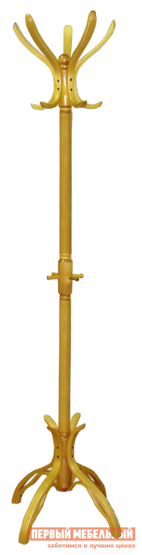 Напольная вешалка Мебелик В 12Н Светло-коричневый Мебелик Габаритные размеры ВхШхГ 1820x500x500 мм. Напольная вешалка из массива березы.  На вешалке расположено 5 крючков для одежды и 4 крючка для сумок и зонтов.  </br> Варианты цвета исполнения помогут выбрать максимально подходящую для вашего интерьера вешалку. <br>