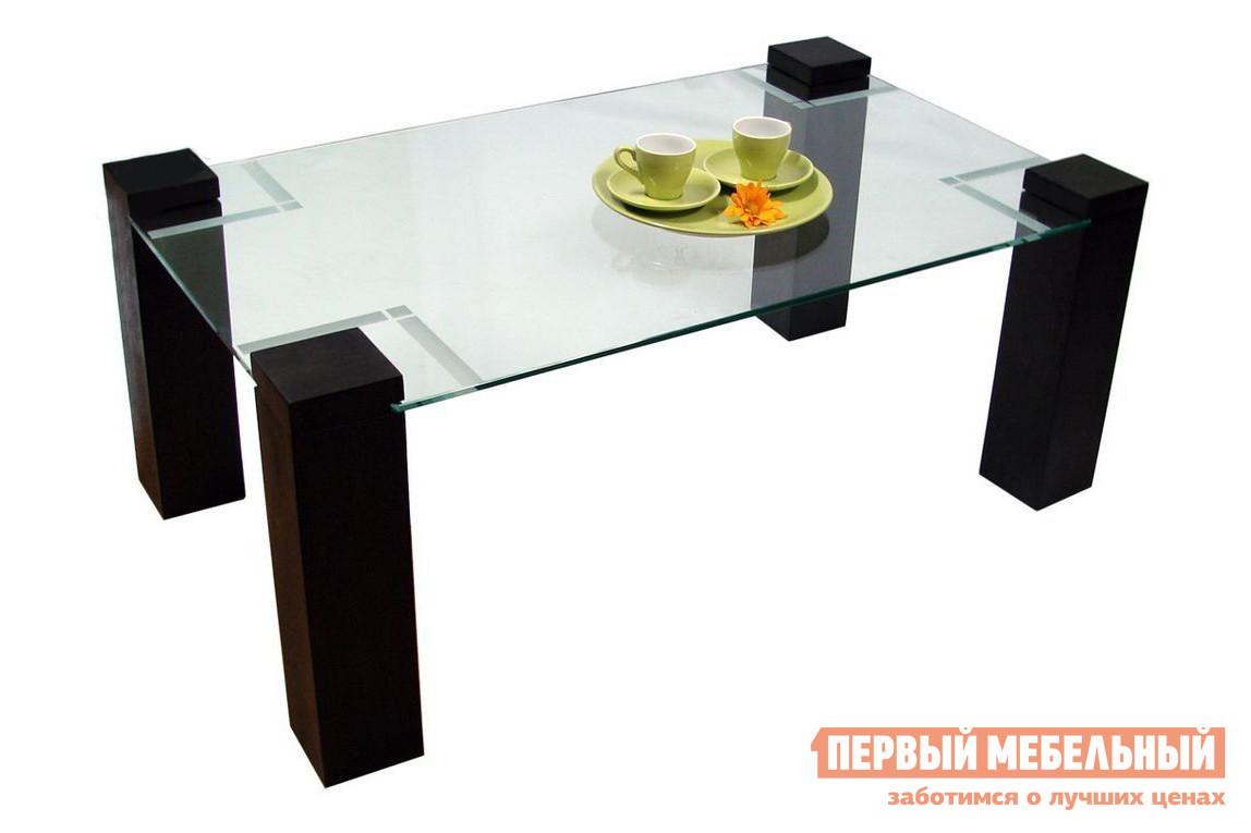 Журнальный столик Мебелик Стол журнальный Приз 2Н (без рисунка) Венге / Стекло прозрачное