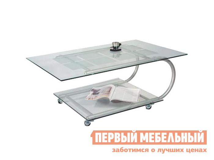 Стеклянный журнальный стол на колесиках Мебелик Дуэт-10