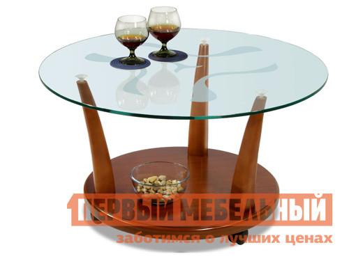Круглый журнальный стол стеклянный Мебелик Квартет-4М (полка МДФ)