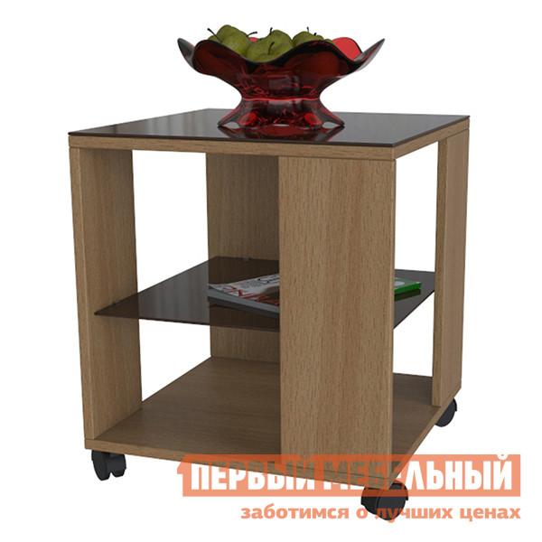Журнальный столик Мебелик BeautyStyle 6 Бук / Стекло темно-коричневоеЖурнальные столики<br>Габаритные размеры ВхШхГ 500x450x450 мм. Небольшой журнальный столик отлично дополнит как классический, так и современный интерьер комнаты.  Облегченная конструкция с открытыми сторонами и стеклянными элементами делают модель воздушной, столик не будет зрительно казаться громоздким в помещении. Столик имеет стеклянную столешницу и две полочки, средняя выполнена из стекла.  Изделие оснащено колесными опорами, что позволит без труда перемещать его по комнате. Корпус стола изготавливается из ЛДСП, столешница и полка — полимерное стекло.<br><br>Цвет: Коричневый<br>Цвет: Светлое дерево<br>Высота мм: 500<br>Ширина мм: 450<br>Глубина мм: 450<br>Кол-во упаковок: 1<br>Форма поставки: В разобранном виде<br>Срок гарантии: 24 месяца<br>Тип: Чайные<br>Назначение: Для гостиной<br>Материал: Стекло<br>Материал: ЛДСП<br>Форма: Прямоугольные<br>Размер: Маленькие<br>Высота: Низкие<br>С полкой: Да<br>На колесиках: Да<br>Стиль: Классический<br>Стиль: Модерн