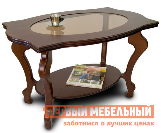 Журнальный столик Мебелик Берже-1С Темно-коричневыйЖурнальные столики<br>Габаритные размеры ВхШхГ 560x940x600 мм. Журнальный столик выполнен из МДФ и шпона ценных пород дерева, имеет опоры из натурального дерева.  В центре столешницы толщиной 33 мм располагается вставка из стекла, придавая изделию красоту и легкость.  Внизу располагается полка размером 64х40 см толщиной 17 мм. Ножки стола выполнены из массива бука, столешница покрыта шпоном дуба.<br><br>Цвет: Коричневое дерево<br>Высота мм: 560<br>Ширина мм: 940<br>Глубина мм: 600<br>Кол-во упаковок: 1<br>Форма поставки: В разобранном виде<br>Срок гарантии: 24 месяца<br>Тип: Чайные<br>Назначение: Для гостиной<br>Материал: Стекло<br>Материал: МДФ<br>Материал: Шпон<br>Материал: Массив дерева<br>Порода дерева: Бук<br>Порода дерева: Дуб<br>Форма: Овальные<br>Размер: Маленькие<br>Высота: Высокие<br>С полкой: Да<br>Стиль: Классический