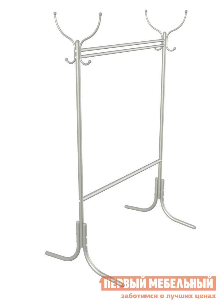 Гардеробная вешалка Мебелик М-13 МеталликГардеробные вешалки<br>Габаритные размеры ВхШхГ 1790x1090x740 мм. Напольная вешалка гардеробного типа с перекладиной для плечиков имеет 2 пары крючков.  Материал  стальная мебельная труба диаметром 30 мм.  Прекрасный вариант для размещения большого количества одежды, расстояние от пола до нижней перекладины 55 см.  Благодаря разнообразию цветов данная модель гармонично впишется в любой интерьер.<br><br>Цвет: Металлик<br>Цвет: Серый<br>Высота мм: 1790<br>Ширина мм: 1090<br>Глубина мм: 740<br>Кол-во упаковок: 1<br>Форма поставки: В разобранном виде<br>Срок гарантии: 24 месяца<br>Материал: Металлические