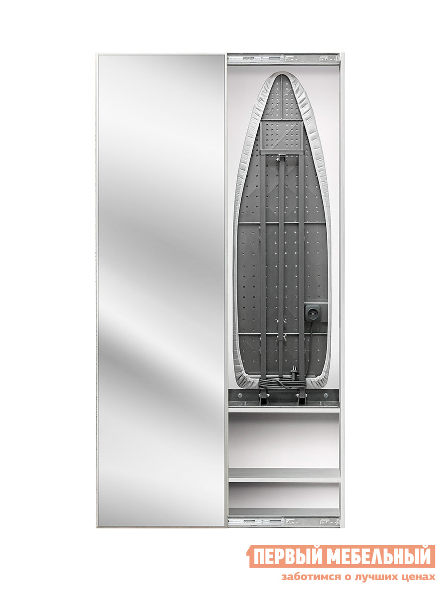 Гладильная доска Shelf On Iron Box Беленый дуб, ПравыйГладильные доски<br>Габаритные размеры ВхШхГ 1800x500x140 мм. Хватит тратить время на поиски удачного места, куда спрятать гладильную доску, ведь решение этой проблемы простое и очень элегантное. Настенный шкафчик со встроенной гладильной доской и зеркальным фасадом станет настоящим спасением для любой хозяйки.  Внутри него также имеется удобная полочка для утюга.  Зеркало на дверце закреплено при помощи клея. К стене доска крепится на мощном кронштейне, а в разложенном виде поддерживается еще и ногой, опирающейся на пол.  Вы можете зафиксировать доску на высоте от 75 до 95 см от пола.  Поднятая доска фиксируется к задней стенке небольшим магнитом. Крепление:  к стенеМатериал: сталь, ЛДСПФасад: зеркальный, дверь-купеГладильная поверхность: перфорированная сталь, 122х40смЧехол: триплированный тефлоновый отражающий, выдерживает 200°С.  Цвет — серебристо-металлическийРозетка: встроена, шнур 2,2 метраРегулировка высоты: от 75 до 95 см от полаОбратите внимание, что при покупке вам необходимо выбрать расположение открытой дверцы — левое или правое.<br><br>Цвет: Светлое дерево<br>Высота мм: 1800<br>Ширина мм: 500<br>Глубина мм: 140<br>Кол-во упаковок: 1<br>Форма поставки: В разобранном виде<br>Срок гарантии: 1 год<br>Тип: Трансформер<br>Тип: Встроенные<br>Тип: Настенные<br>Тип: Купе<br>Материал: Дерево<br>Материал: ЛДСП<br>С зеркалом: Да